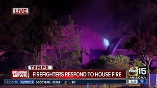 Firefighters battle stubborn house fire in Tempe