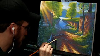 Acrylic Landscape Painting of Summer Trees and River - Time-lapse - Artist Timothy Stanford