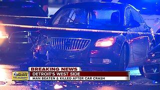 Man beaten & killed after car crash on Detroit's west side