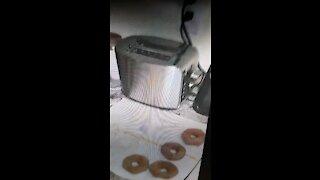 Making homemade doughnuts