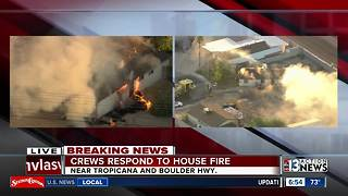 House fire near Boulder Highway and Tropicana