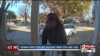 Woman seen stealing package near 13th and Yale