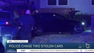 Police chase two drivers in stolen cars