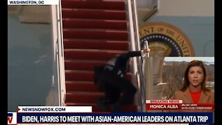Biden Trips Falls 3 Times NBC Says Very Windy CNN Says Trump Scared of Stairs Media Hypocrites Liars
