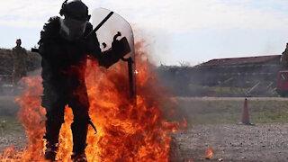 KFOR Polish Contingent braves fire phobia training