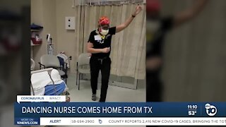 'Dancing nurse' returns home from Texas