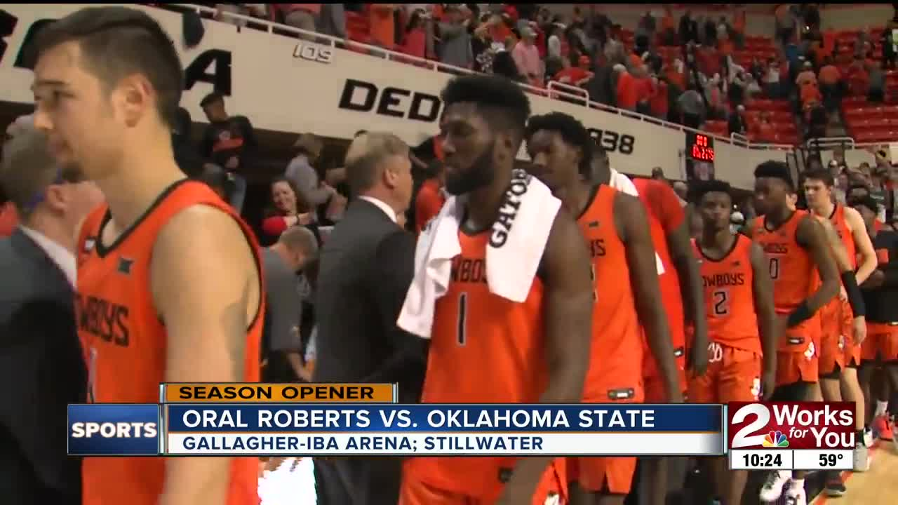 Oklahoma State Basketball holds off Oral Roberts in season-opener, 80-75