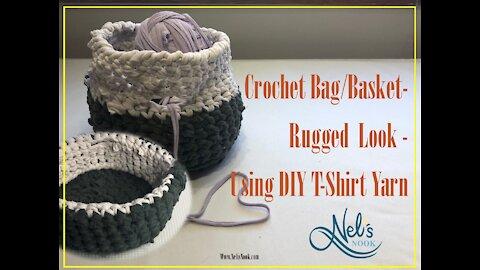 Crochet Rugged Basket Bag from DIY T Shirt Yarn