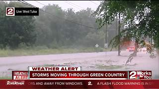 Road floods in south Tulsa