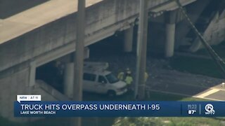 Truck smashes into Interstate 95 overpass in Lake Worth Beach