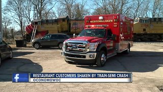 Train collides with semi in Oconomowoc; no severe injuries