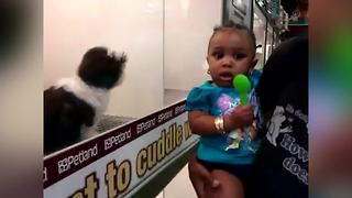 Little Girl Scared Of A Little Puppy