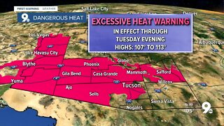 Excessive Heat Warnings remain in effect through Tuesday evening