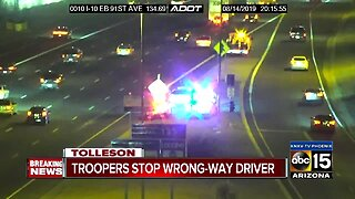 Troopers stop wrong-way driver