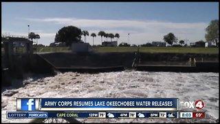 Army Corps resumes Lake Okeechobee water releases