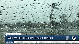 Wet weather gives San Diego a break from the heat