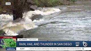 San Diego River floods again as heavy rain moves through the area