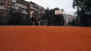 Man pulls amazing soccer trick shot
