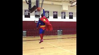 Superman Dunks A Basketball