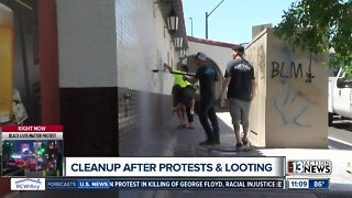 Downtown Vegas cleaned up after night of protests