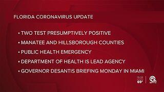 Two 'presumptive positive' cases of the coronavirus in Florida