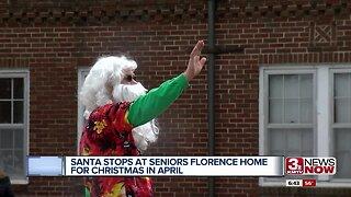 Santa visits with seniors for Christmas and April