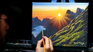 Acrylic Landscape Painting of a Mountain Sunrise - Time Lapse - Artist Timothy Stanford