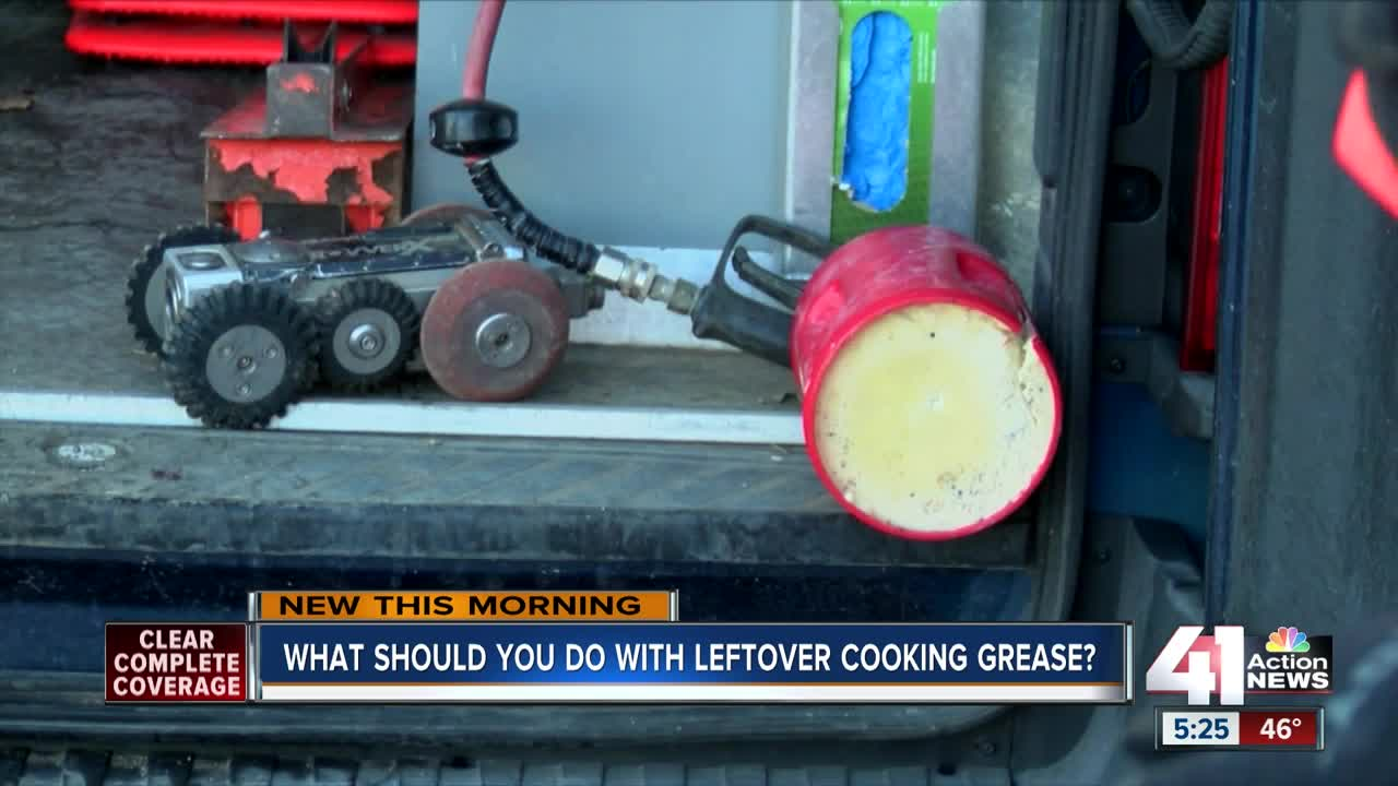 What should you do with leftover cooking grease?