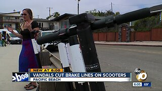 Vandals cut brake lines on scooters in Pacific Beach