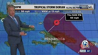 Tropical Storm Dorian 11 p.m. Update