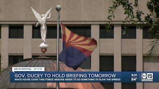 Governor Ducey to hold briefing Wednesday about COVID-19 response
