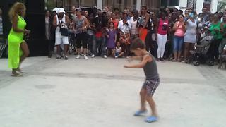Boy from audience turns out to be natural rumba dancer