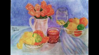 Draw a flower bouquet with lemon and orange