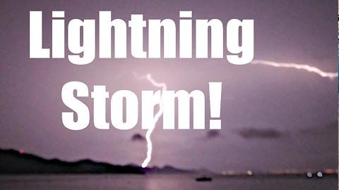 Intense thunderbolt and lightning storm over Hong Kong