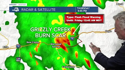 'Flash flood emergency' in and around Grizzly Creek burn scar area