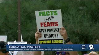 Protesters want a hybrid learning option for their kids