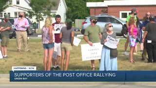 Supporters of the post office rallying