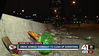 Crews work overnight to clean up downtown