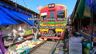 Maeklong Railway Market at Samut Songkhram In Thailand