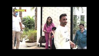 Film Producer Akshay Puri with family reach alibaug for Varun & Natasha&rsquo