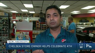 Chelsea store owner helps celebrate July 4th