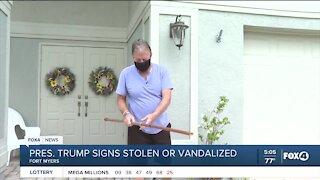 Political signs stolen from neighborhood