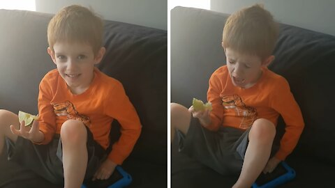 Kid tries a lime for the very first time