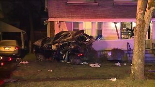 Driver goes airborne, plows through six Akron front yards