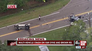 1 person in critical condition after multiple-car crash