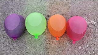 Explosion of colored balls in slow motion