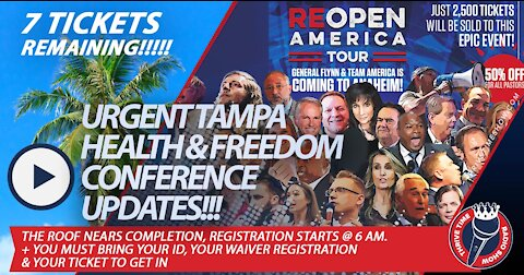URGENT!!! Tampa Health & Freedom Conference Update   Roof Nears Completion, Doors Open At 6:00 AM