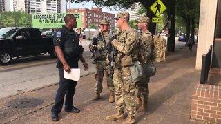 Military and police downtown Tulsa
