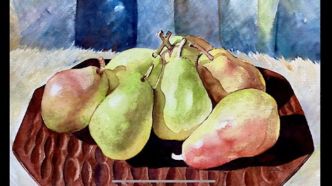 Easy Pear Painting in watercolor