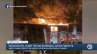 Residents jump from burning apartments in Mount Clemens